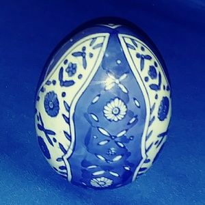 Blue and White Decorative Egg - Ceramic